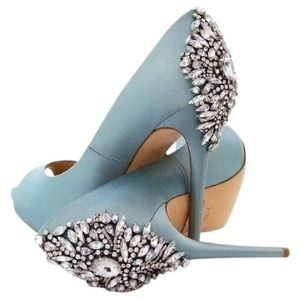 *Badgley Mischka Blue Kiara Jewel Back Heels*